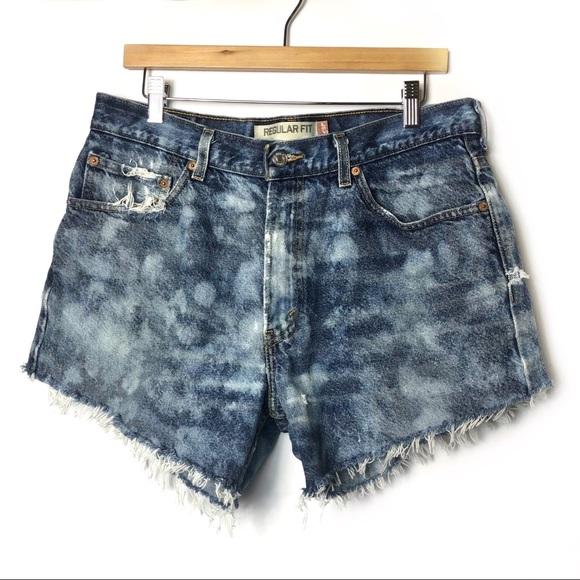 Levi's Pants - LEVIS 505 High Rise Jean Shorts Bleach Dye Raw Hem